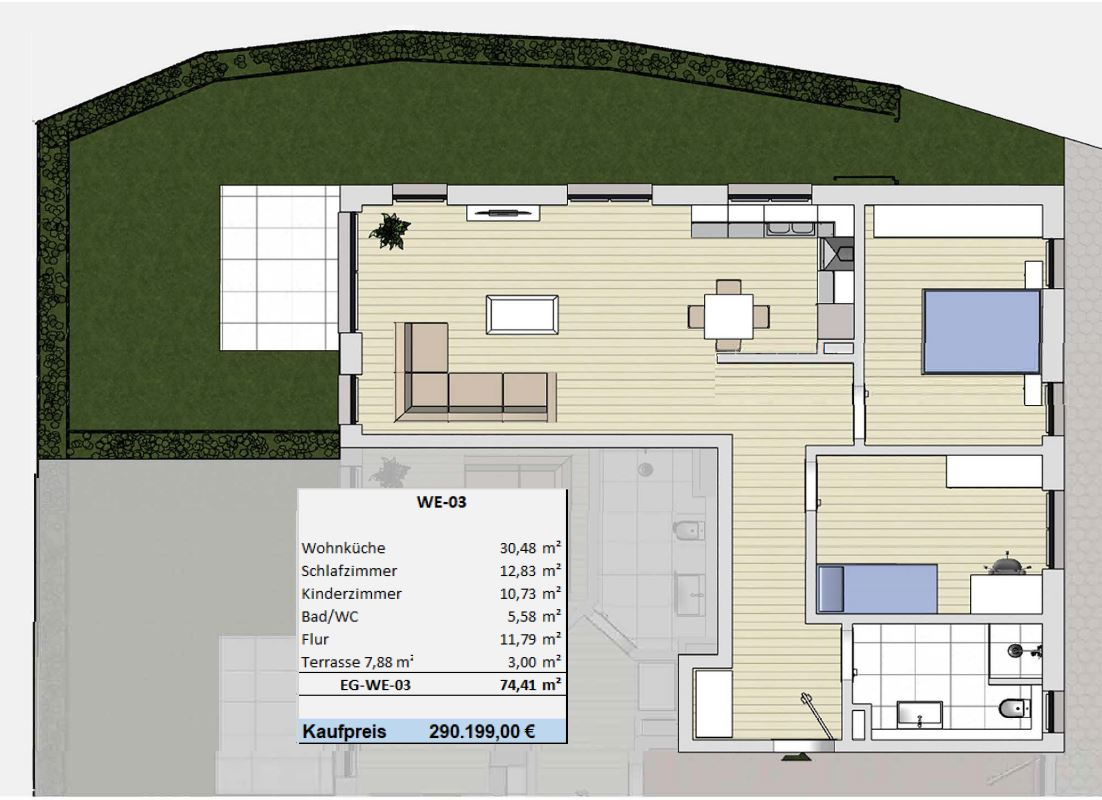 Der pure Wohntraum in Viersen lichtdurchflutete Eigentumswohnungen (Mehrfamilienhaus-Nr. WE-03 Mit Garten)